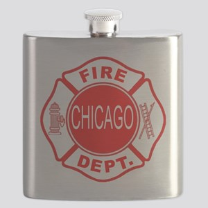 2-cfd maltese outline filled in fire dept ch Flask