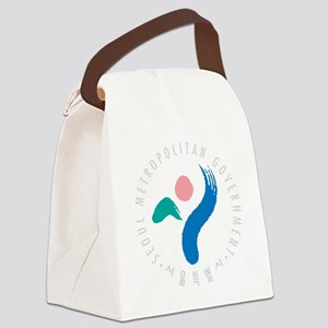 SeoulEmblem1Bk Canvas Lunch Bag