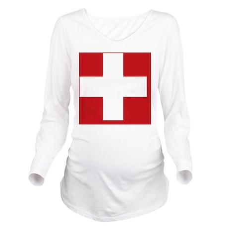 swiss-flag Long Sleeve Maternity T-Shirt