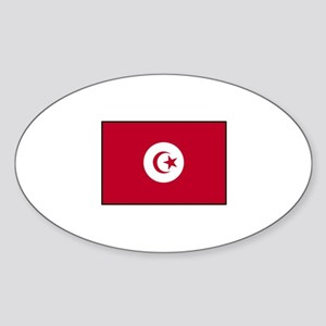 Tunisian Flag Oval Sticker