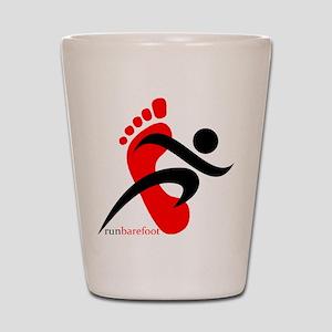 runbarefoot small left Shot Glass