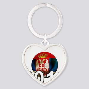 Serbia Football2Bk Heart Keychain