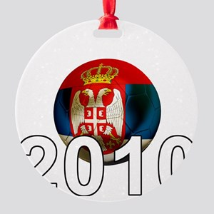 Serbia Football2Bk Round Ornament