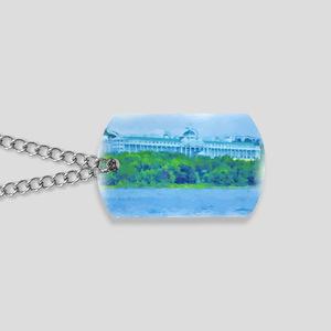 Mackinac Hotel-water_green border Dog Tags