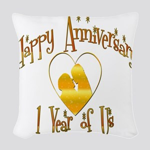 happy anniversary heart copy Woven Throw Pillow