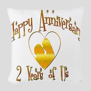 2-happy anniversary heart 2 Woven Throw Pillow