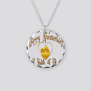 2-happy anniversary heart 2 Necklace Circle Charm