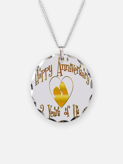 2-happy anniversary heart 2 Necklace