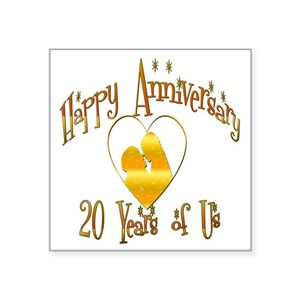 20th wedding anniversary square stickers cafepress