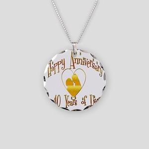 happy anniversary heart 40 Necklace Circle Charm