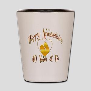 happy anniversary heart 40 Shot Glass