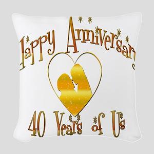happy anniversary heart 40 Woven Throw Pillow