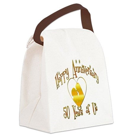 happy anniversary heart 50 Canvas Lunch Bag