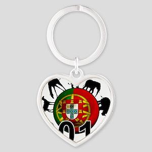 Portugal Football2 Heart Keychain