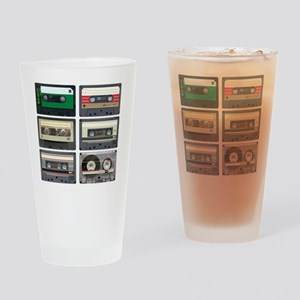 cassettes sqaure Drinking Glass