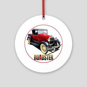 RedAroadster-C8trans Round Ornament