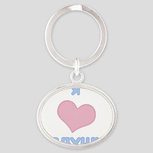 i heart dedushka Oval Keychain