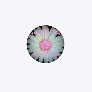 Pink daisy grandmother of bride Mini Button