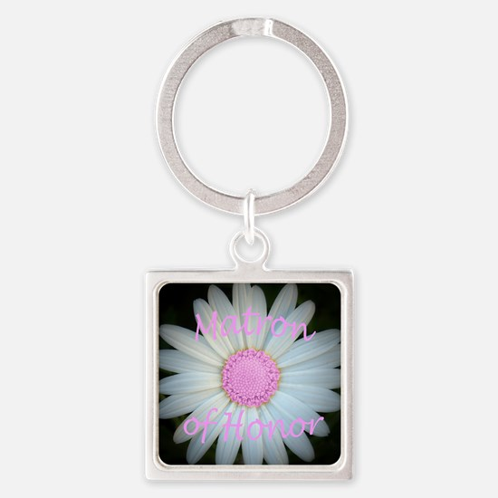 Pink daisy matron of honor Square Keychain