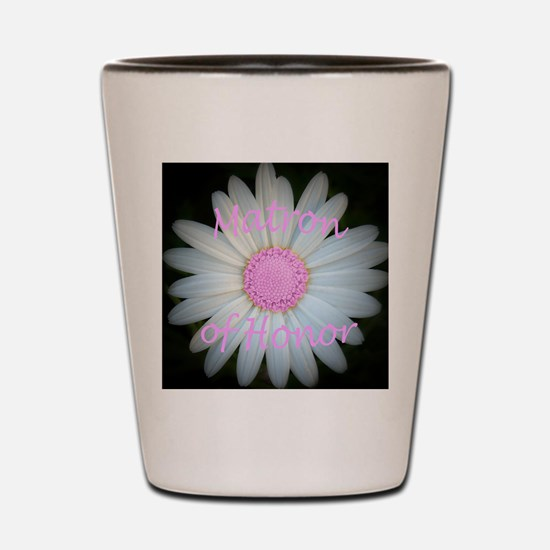 Pink daisy matron of honor Shot Glass