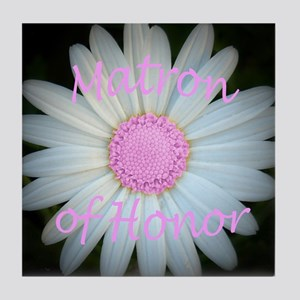 Pink daisy matron of honor Tile Coaster