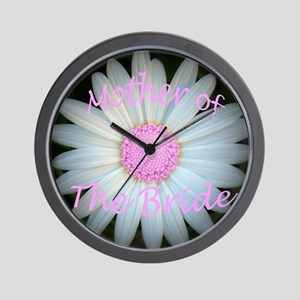 Pink daisy mother of bride Wall Clock