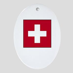 Swiss Flag - Switzerland Oval Ornament
