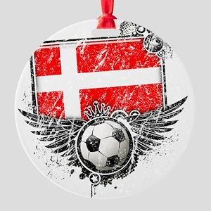 Soccer fan Denmark Round Ornament