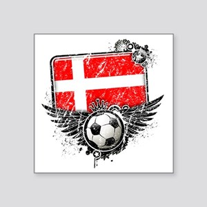 "Soccer fan Denmark Square Sticker 3"" x 3"""