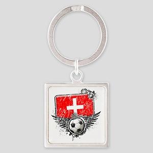 Soccer fan Switzerland Square Keychain