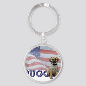 FIN-puggle-patriotic2 Round Keychain