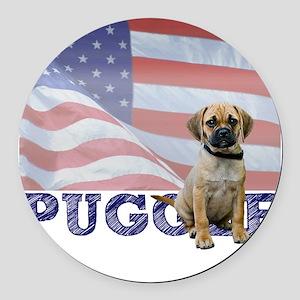 FIN-puggle-patriotic2 Round Car Magnet