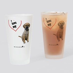 FIN-puggle-love-CROP Drinking Glass
