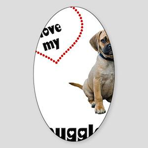 FIN-puggle-love-CROP Sticker (Oval)