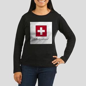 Switzerland Women's Long Sleeve Dark T-Shirt