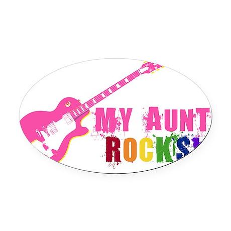 Pink Guitar_Aunt Oval Car Magnet