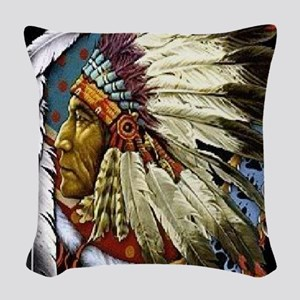 CHIEF WHITE CLOUD Woven Throw Pillow