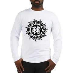 Chinese Pig Calligraphy Long Sleeve T-Shirt