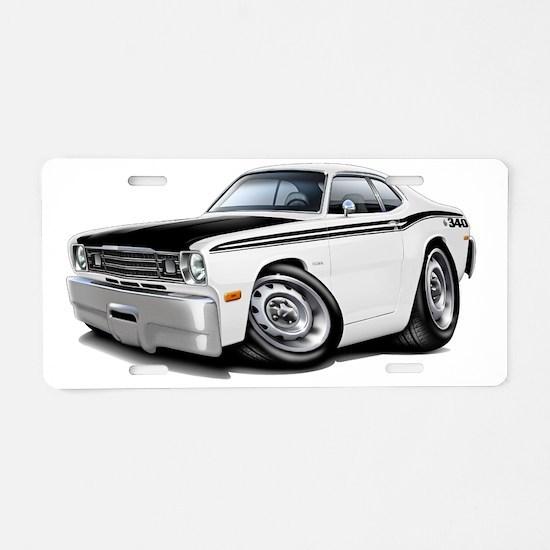 1970-74 Duster 340 White-Bl Aluminum License Plate