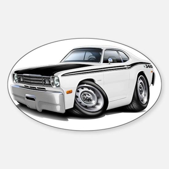 1970-74 Duster 340 White-Black Car Sticker (Oval)