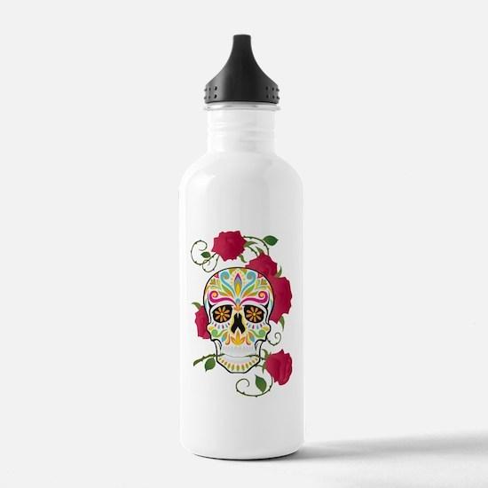 Rose Sugar Skull Water Bottle