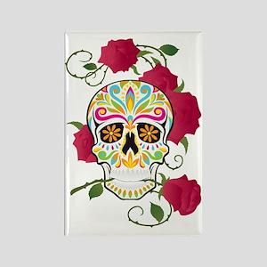 Rose Sugar Skull Rectangle Magnet