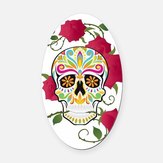 Rose Sugar Skull Oval Car Magnet