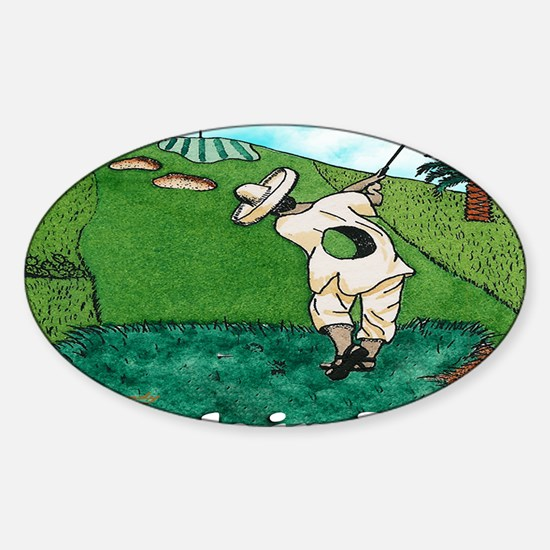 A HOLE IN JUAN greeting card Sticker (Oval)