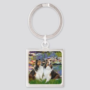 Lilies 2 - 2 Shelties (D&L) Square Keychain