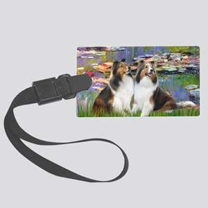 Lilies 2 - 2 Shelties (D&L) Large Luggage Tag