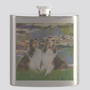 Lilies 2 - 2 Shelties (D&L) Flask