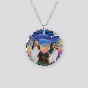 MP-Twilight - 2 Shelties Necklace Circle Charm