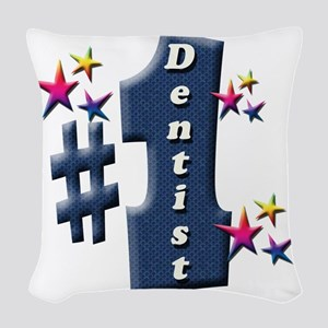 number 1 dentist Woven Throw Pillow