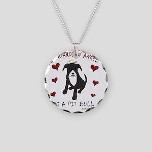 PitBullBlkWt Necklace Circle Charm